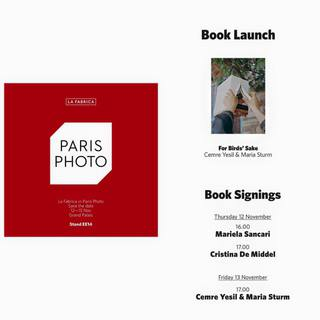 For Birds Sake Book Launch @ParisPhoto November, 2015