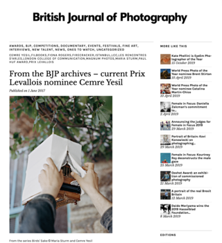 Article published in British Journal of Photography on Pirx Levallois nomination, June 2017
